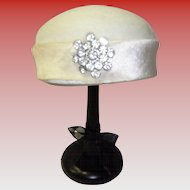 Vintage Gimbel Brothers Faux Fur Hat With Rhinestones Styled By Janet