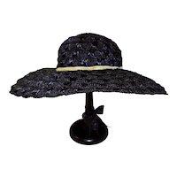 Vintage Navy Blue Woven Straw Hat By Mr. John Jr