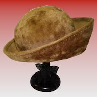 Vintage Brown Faux Fur Slouch Hat By Mr. Michael