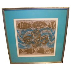 Delores White Matted and Framed Abstract Fish Art Print
