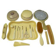 17 Piece French Celluloid Vanity / Dresser Set