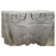"Large Vintage Linen Cutwork And Lace Tablecloth 74"" X 104"