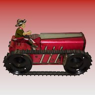 1950s Vintage Marx Wind-Up Tin Lithograph Crawler Tractor & Driver