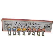 8 Hand Painted Lead American Cowboy Figures In Original Box W. Britain