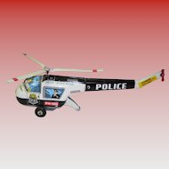 Vintage Tin Litho Friction Police Air Patrol Helicopter