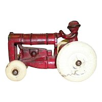 Vintage Arcade Cast Iron Tractor With Original Red Paint