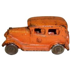 Vintage Kilgore Cast Iron 4 Passenger Orange Sedan / Car
