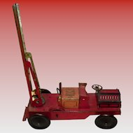 British Wells London Made Early Tin Litho Fire Truck key wind