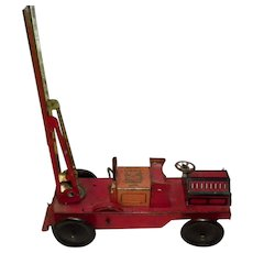 British Wells London Made Early Tin Lithograph Fire Truck Key Wind-Up