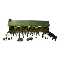 Two Tin Lithograph US Army Headquarter Training Centers With Accessories
