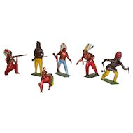 Set Of 6 Hand Painted Native American Indian Lead Figures