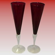 Set Of 2 Bohemian Czech Ruby Red Champagne Flutes / Glasses