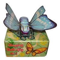 Vintage Kanto Toys Key Wind Tin Litho Flapping Blue/White Butterfly No. 1 In Original Box