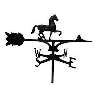 Wrought Iron Horse Weathervane With Four Direction Arrows