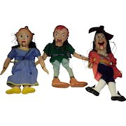 Set Of 3 Marionettes / Puppets Wendy Peter Pan & Captain Hook