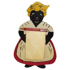Vintage Black Americana Wooden Mammy / Aunt Jemima Note / Memo Pad