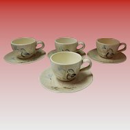 Set Of 4 Red Wing Bob White Cups & Saucers