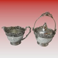 Middletown Plate Co Quadruple ornate Cream & Sugar Bowl