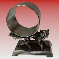 Derby Silver Co. Figural Napkin Ring Holder Fox in the Brush #364
