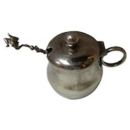 Albany Silver Plate Mustard Pot With Figural Jester Silver Spoon