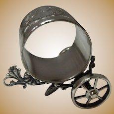 Meriden B. Silverplate Napkin Ring With Cart (Wheels)