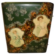 Victorian Extra Large Celluloid Photo Album With Women & 47 Pictures