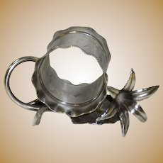 Meriden Silverplate Napkin Ring Holder With Lily