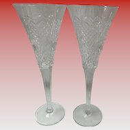 Set Of 2 Waterford Crystal Heirloom Hearts Toasting Champagne Flutes