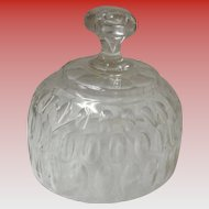 Vintage Clear Glass Crystal Cloche With Oval Imprints