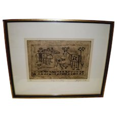 """Joseph Rozman Framed Collagraph Print Signed """"Bugs In A Rug"""" 1966"""