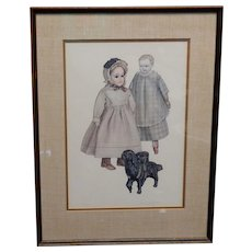 Jerome F. Ryan Bisque Doll & Dog Watercolor Signed