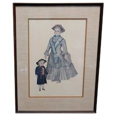 Bisque Doll Watercolor Signed Jerome F. Ryan.