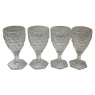 Set of 4 American Fostoria Cordials / Sherry / Wine Glasses