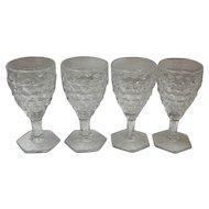 Set of 4 American Fostoria Cordials / Sherry / Wine Glasses