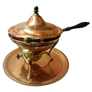 1902 S. Sternau Copper And Brass Chafing Dish With Tray