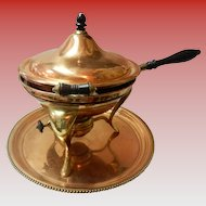 Antique 1902 S. Sternau Copper And Brass Chafing Dish With Tray