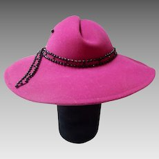 Vintage Mr. John Excello Pink Wool Hat With Beaded Band And Hat Pin