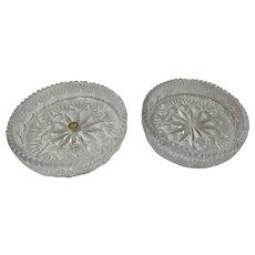Set Of 2 24% Lead Crystal 3 Light Candlestick Bowl Centerpiece