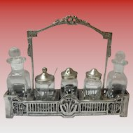 Vintage Cast Metal Condiment Caddy