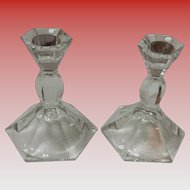 Set Of 2 Small Crystal Candlestick Holders