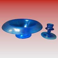 Fenton Celeste Blue Stretch Glass Bowl & Candlestick Holder