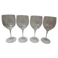 Set Of 4 Large Crystal Wine Glasses