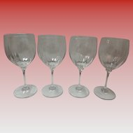 Set Of 4 Large Crystal Wine Glasses