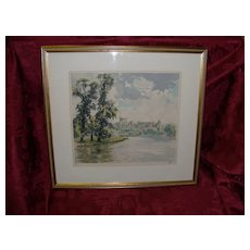 """Hans Figura """"Windsor Castle"""" Etching In Color Limited Edition 67/250"""