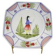 """Vintage Henriot Quimper 10"""" Square Dinner Plate"""