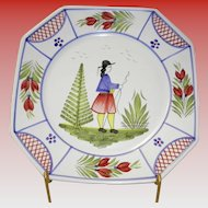 "Henriot Quimper 10"" Square Dinner Plate"