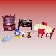 10 Piece Lot Of Doll House Furniture Renwal Plasco Irwin