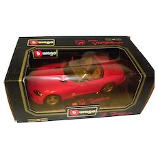 1992 Burago Dodge Viper 1/18 Scale Diecast Car Made In Italy