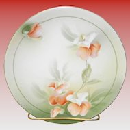 RS Germany Hand Painted Plate With Sweet Pea Flowers