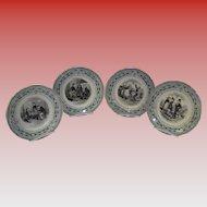 Set Of 4 Antique French Depose Terre De Fer Transferware Plates